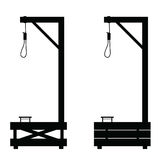 Gallows set in black color illustration on white Stock Photo