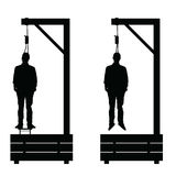 Gallows set in black color with man on it illustration Royalty Free Stock Photo