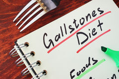 Gallstones diet. Page of a note with title Gallstones diet stock images