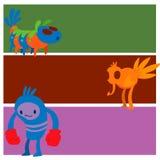 Galna djur för gigantiskt för teckenvektorkort roligt för design för beståndsdel för humor för emoticon för fantasi uttryck för m stock illustrationer