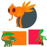 Galna djur för gigantiskt för teckenvektorkort roligt för design för beståndsdel för humor för emoticon för fantasi uttryck för m royaltyfri illustrationer