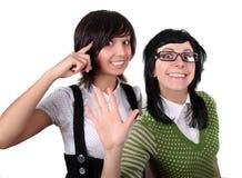 galna flickor två Arkivbilder