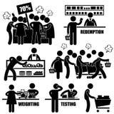 Galna shoppingPictograms för Supermarket Arkivbild