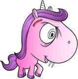Galna sinnessjuka Unicorn Pony Vector stock illustrationer