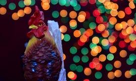 Galo caseiro do brinquedo do Natal matizado Vista superior com espaço da cópia Imagens de Stock Royalty Free