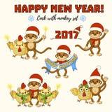 Galo com grupo do macaco Grupo grande dos desenhos animados do ano novo Grupo do vetor do macaco e do galo Imagem de Stock