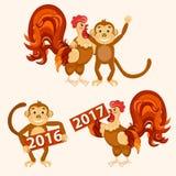 Galo com grupo do macaco Ilustração do vetor Fotos de Stock Royalty Free