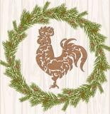 Galo da rotulação do fundo do Feliz Natal Foto de Stock Royalty Free