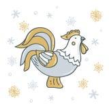 Galo decorativo com os flocos de neve no ouro - tons de prata ilustração do vetor