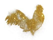 Galo do brilho dourado no fundo branco, símbolo do ano novo 2017 Imagens de Stock Royalty Free