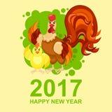 Galo dos desenhos animados Galo com galinha em um fundo verde Foto de Stock Royalty Free