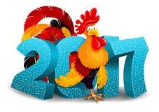 Galo e 2017 figuras Imagem de Stock