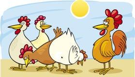 Galo e galinhas ilustração royalty free