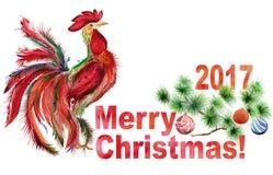 Galo e ramo de pinheiro decorado com o Feliz Natal do sinal e 2017 no fundo branco Fotos de Stock Royalty Free