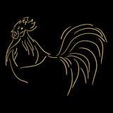 Galo estilizado dourado no fundo preto Símbolo 2017 chinês do zodíaco Fotografia de Stock