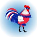 Galo estilizado isolado em uma luz - fundo azul da galinha da três-cor Projeto liso do vetor Imagem de Stock