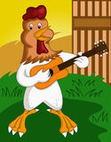 Galo feliz que joga desenhos animados da guitarra ilustração do vetor