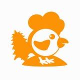 Galo, galo novo, galinha com um abeto no símbolo 2017 do logotipo do monte o calendário chinês laranja da silhueta Imagem de Stock