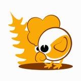 Galo, galo novo, galinha um símbolo 2017 do logotipo no calendário chinês amarelo da silhueta, imagens de duas cores marrons Imagem de Stock Royalty Free