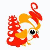 Galo, galo novo, galinha um símbolo 2017 do logotipo no calendário chinês A silhueta é laranja, cores do vermelho dois Foto de Stock