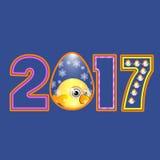 Galo novo no calendário 2017 do símbolo do ovo da figura Fotos de Stock