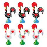 Galo português de Barcelos - ícones de Galo de Barcelos Foto de Stock