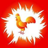 Galo vermelho e amarelo em um quadro do fogo vermelho Imagens de Stock Royalty Free