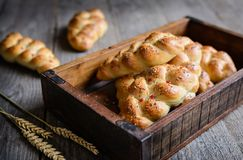 Galonowe chlebowe rolki z czerwonymi dzwonkowego pieprzu, chili i chia ziarnami, Obraz Royalty Free