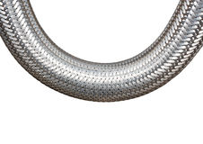 Galonowy metalu kabel na białym tła zbliżeniu fotografia royalty free