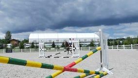 Galoppo leggero del giovane sul cavallo all'arena video d archivio
