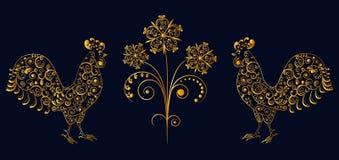 Galos a céu aberto do teste padrão do laço com flor ilustração do vetor