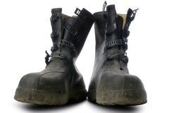 Galoshes. A pair of black galoshes on white Royalty Free Stock Photos