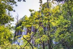 Galovacki在普利特维采湖群国家公园的buk瀑布 库存照片