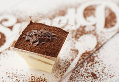 Galss of tiramisu Stock Photos