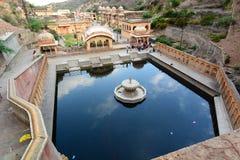 Galtaji, the Monkey temple (Galwar Bagh). Jaipur. Rajasthan. India. Galtaji is an ancient Hindu pilgrimage site in the town of Khania-Balaji, about 10km away Royalty Free Stock Photos