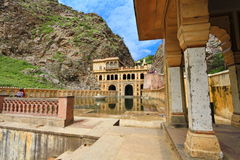 Galtaji Temple Jaipur. The ancient famous Hindu pilgrimage Galtaji Temple at Jaipur,Rajasthan,India. The temple consists of several temples and sacred kunds ( stock images