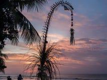 Galungan的巴厘语庆祝的彭乔尔装饰 巴厘岛 免版税图库摄影
