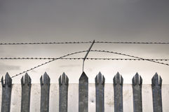 Galvanised fence Stock Photo