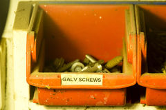 Galvanised Screws. Galvanised stored in a handy man's box royalty free stock photos
