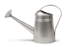 Galvanised watering can. Classic galvanized metal retro watering can isolated on white stock photo