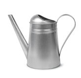 Galvanised watering can. Classic galvanised metal retro watering can isolated on white royalty free stock photography