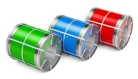 Galvaniserat stålark med polymerbeläggningen i spolar, renderi 3D vektor illustrationer