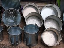 Galvanized Buckets and Pans Royalty Free Stock Photography