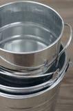 Galvanized buckets Stock Photo