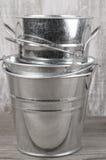 Galvanized buckets Royalty Free Stock Photos