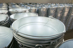 Galvanized buckets of stock Stock Photography