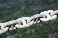 Galvanized chain, mooring line Royalty Free Stock Photography