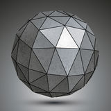 Galvanized dimensional sphere, metal 3d object. Stock Photos