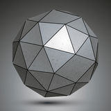 Galvanized facet 3d sphere, grayscale abstract object. Galvanized facet 3d sphere, grayscale metal abstract object royalty free illustration