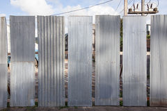 Galvanized iron plate around construction zone Royalty Free Stock Images